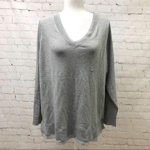 Lane Bryant Gray Chiffon Trim V Neck Sweater NWT